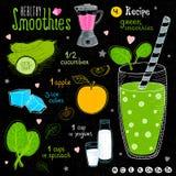 Ensemble sain de recette de smoothie Photographie stock libre de droits
