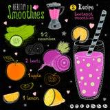 Ensemble sain de recette de smoothie Images stock