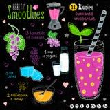 Ensemble sain de recette de smoothie Images libres de droits