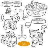 Ensemble sans couleur d'animaux domestiques et d'objets mignons, chats de vecteur Images libres de droits