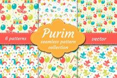 Ensemble sans couture de modèle de carnaval Fond de Purim de collection Vacances, mascarade, festival, fête d'anniversaire endles illustration libre de droits