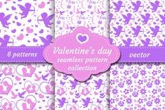 Ensemble sans couture de modèle de jour heureux de Valentine s Fond sans fin d'amour romantique mignon de collection Cupidon, coe illustration stock