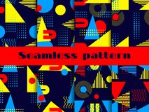 Ensemble sans couture de modèle de Memphis Éléments géométriques Memphis dans le style 80 du ` s Vecteur Images stock