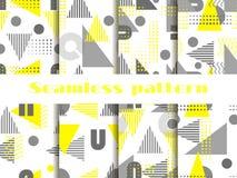 Ensemble sans couture de modèle de Memphis Éléments géométriques Memphis dans le style 80 du ` s Vecteur Photographie stock