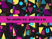 Ensemble sans couture de modèle de Memphis Éléments géométriques Memphis dans le style 80 du ` s Vecteur Photos libres de droits