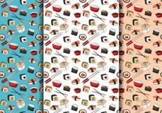 Ensemble sans couture de modèle de petits pains de sushi Concept asiatique de fond de répétition de menu de restaurant de nourrit Images libres de droits