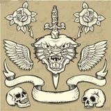 Ensemble sauvage de tatouage de panthère Photographie stock libre de droits