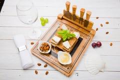 Ensemble savoureux de casse-croûte de fromage Photos stock