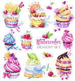 Ensemble savoureux de dessert d'aquarelle Illustration tirée par la main originale Photo savoureuse colorée Belle collection douc illustration de vecteur