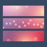 Ensemble scientifique de bannières de vecteur Modèle hexagonal de chimie Médical, la science, technologie, fond de chimie illustration stock