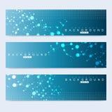Ensemble scientifique de bannières modernes de vecteur Structure de molécule d'ADN avec les lignes et les points reliés Fond de v Photos stock