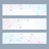 Ensemble scientifique de bannières modernes de vecteur Structure de molécule d'ADN avec les lignes et les points reliés Fond de v Photo libre de droits