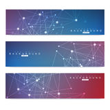 Ensemble scientifique de bannières modernes de vecteur Structure de molécule d'ADN avec les lignes et les points reliés Fond de v Image stock