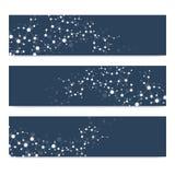 Ensemble scientifique de bannières modernes de vecteur Structure de molécule d'ADN avec les lignes reliées Photos libres de droits