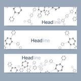 Ensemble scientifique de bannières modernes de vecteur Structure de molécule d'ADN avec les lignes et les points reliés Fond de v Images stock
