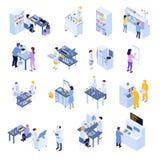 Ensemble scientifique isométrique d'icône de laboratoire illustration de vecteur
