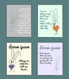 Ensemble sensible de cartes avec des lapins d'ensemble de bande dessinée pour le poscard Avec des salutations de vacances Couleur illustration libre de droits