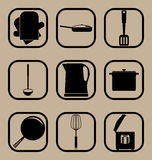 Ensemble simple d'icône d'ustensiles de cuisine Images stock