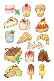 Ensemble simple de desserts Illustration d'isolement de bande dessinée Bonbons classiques illustration stock