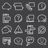 Ensemble simple de ligne relative icônes de vecteur de message Image stock