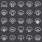 Ensemble simple de ligne relative icônes de vecteur de nuage d'ordinateur Photos stock