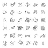 Ensemble simple de ligne relative icônes de vecteur de rédaction publicitaire Images stock