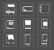 Ensemble simple de ligne relative icônes de vecteur de réfrigérateur Photo libre de droits