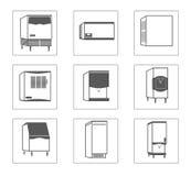 Ensemble simple de ligne relative icônes de vecteur de réfrigérateur Photos libres de droits