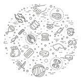 Ensemble simple de ligne relative icônes de vecteur de viande Image libre de droits