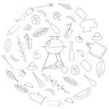 Ensemble simple de ligne relative icônes de vecteur de barbecue Image libre de droits