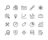 Ensemble simple de SEO Related Vector Icons Contient des icônes telles que le public cible, l'étiquette, l'idée, les statistiques Illustration Stock