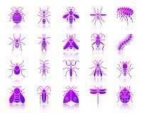 Ensemble simple de vecteur d'icônes de gradient d'insecte de danger illustration libre de droits