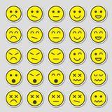 Ensemble simple et plat d'autocollants jaunes d'émotion Autocollants d'?motion dans le style plat d'isolement sur le fond gris illustration stock