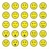 Ensemble simple et plat d'icônes jaunes d'émotion dans le style plat à la mode d'isolement sur le fond blanc illustration libre de droits