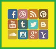 Ensemble social d'icône de media Photographie stock libre de droits