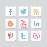 Ensemble social d'icône de media Photos libres de droits