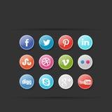 Ensemble social d'icône de media Image stock