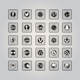 Ensemble social d'icône de media illustration de vecteur