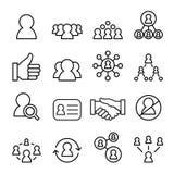 Ensemble social d'icône de réseau, ligne illustration de vecteur d'icône Photo stock