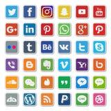 Ensemble social plat coloré d'icône de media illustration libre de droits