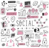 Ensemble social tiré par la main de griffonnage de médias illustration de vecteur
