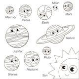 Ensemble solaire mignon de planète de Sistem, la collection du calibre de livre de coloriage, le groupe d'éléments numériques d'e illustration de vecteur