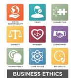 Ensemble solide d'icône d'éthique d'affaires Photos stock