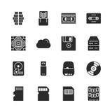 Ensemble solide d'icône de vecteur de stockage de données Images libres de droits