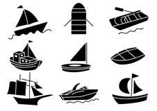 Ensemble solide de bateau d'icônes illustration stock