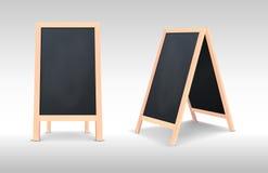 Ensemble spécial réaliste d'icône de conseil d'annonce de menu Fond extérieur de tableau noir de restaurant propre de vecteur Maq illustration de vecteur