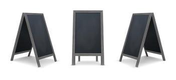Ensemble spécial réaliste d'icône de conseil d'annonce de menu Fond extérieur de tableau noir de restaurant propre de vecteur Maq illustration stock