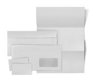 Ensemble stationnaire d'affaires. enveloppe, feuille de papier et affaires c Images libres de droits