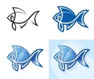 Ensemble stylisé de poissons. Image stock