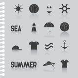 Ensemble-symbole plat d'icône d'été, icône d'ordinateur barre Photo stock